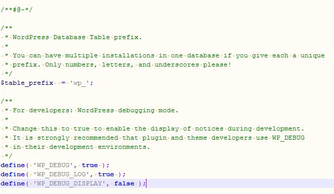 WordPress Debug.log wp-config.php