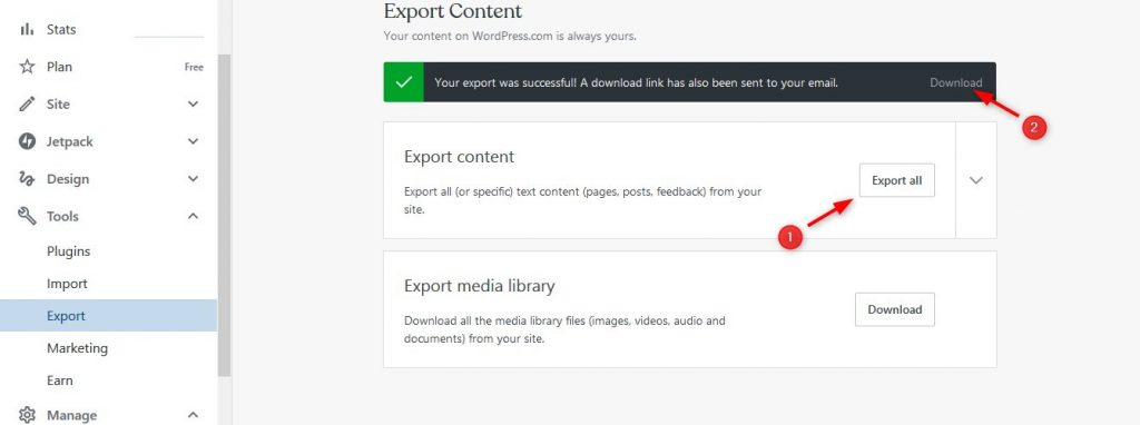 Export and download all data