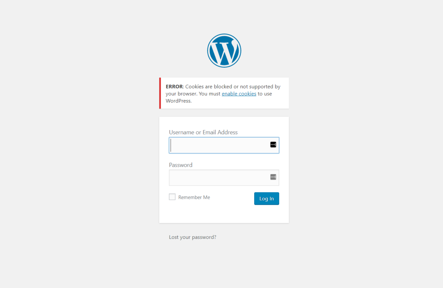 Error message: Cookies are blocked or not supported by your browser. You must enable cookies to use WordPress