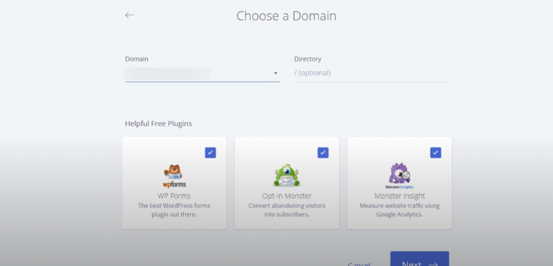 Picture: bluehost choose a domain name