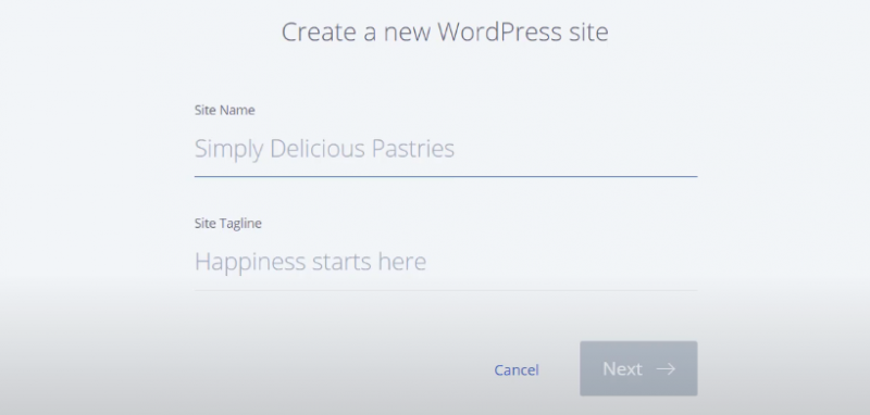 Picture: bluehost create a new wordpress website
