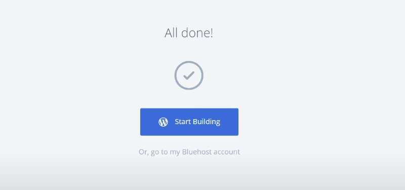 Picture: Bluehost wordpress all finished