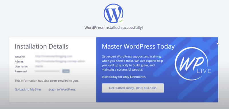 Picture: bluehost wordpress installed succesfully message