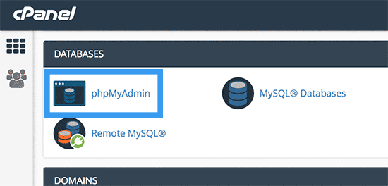 Picture: Click on the phpMyAdmin tab
