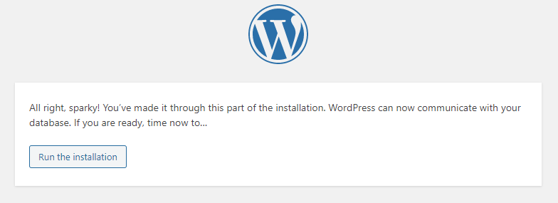 Picture: WordPress can now communicate with your database