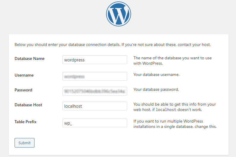 Picture: WordPress database connection details