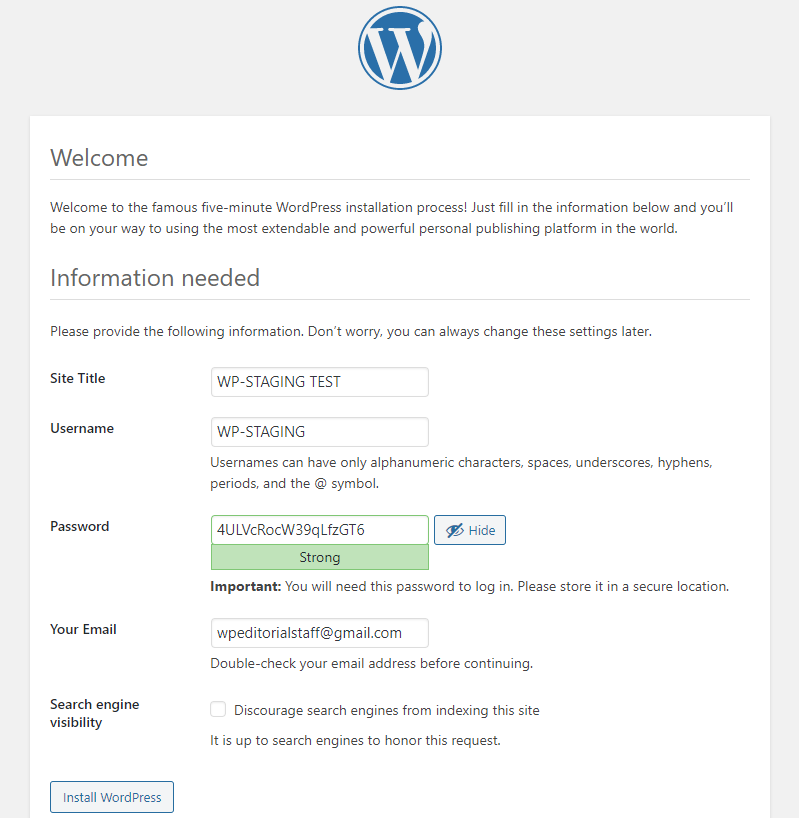 Picture: WordPress five-minute installation information needed