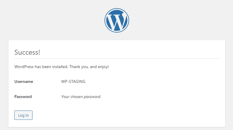 Picture: WordPress five-minute installation success