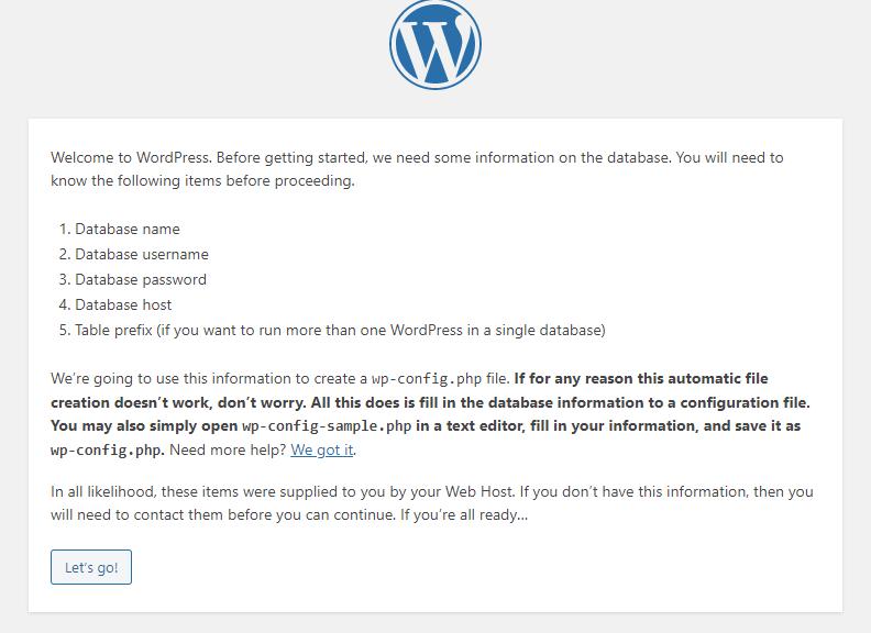 Picture: WordPress installation instructions