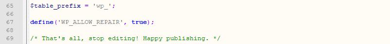 Picture: Repair the WordPress database