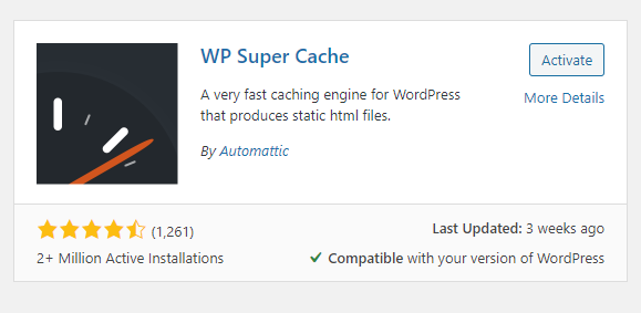 Activate WordPress Caching with WP Super Cache