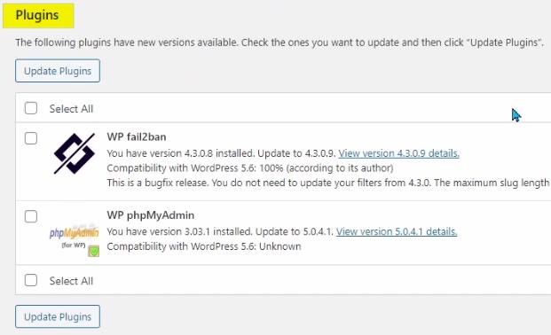WordPress Plugins Updates