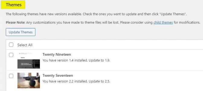 WordPress Themes Updates