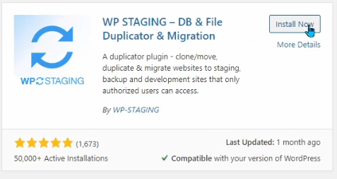 """The Plugin """"WP STAGING"""""""