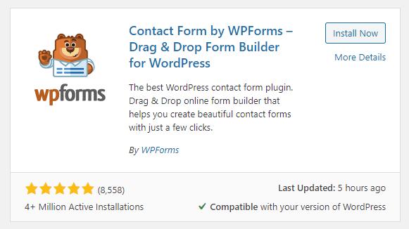 WPForms contact form plugin