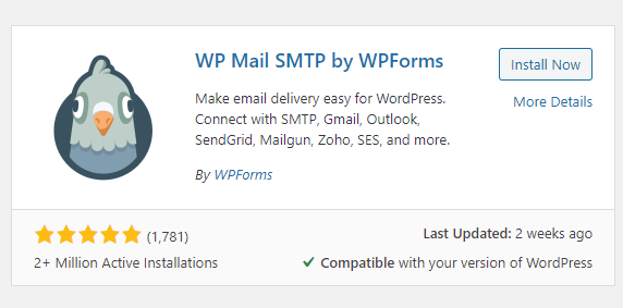 """The plugin """"WP Mail SMTP by WPForms"""""""