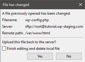 Filezilla: File has changed
