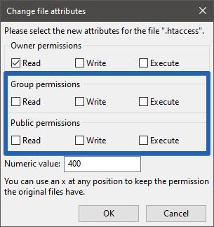 """Filezilla: File Permissions """".htaccess"""""""