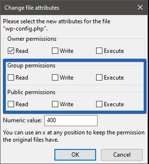 "Filezilla: File Permissions ""wp-config.php"""
