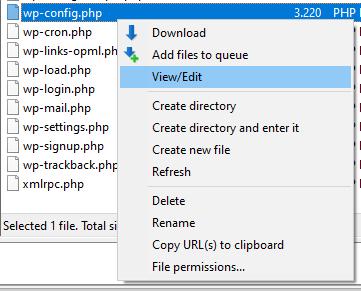 """Filezilla: """"wp-config.php"""" View/Edit"""