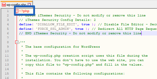 """Filezilla: Insert the Rules into """"wp-config.php"""""""