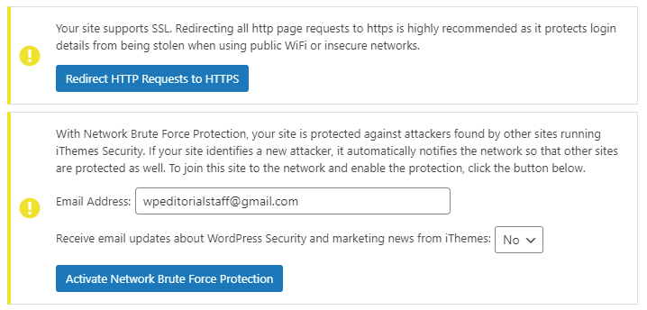 iThemes Security: SSL, Network Bruteforce Protction