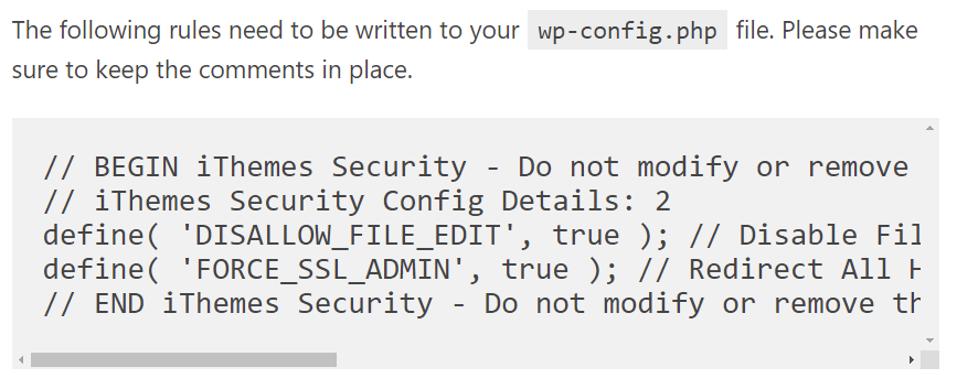 "iThemes: ""wp-config.php"" Rules"