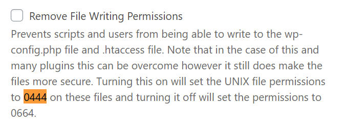 iThemes Security: Remove File Writing Permissions