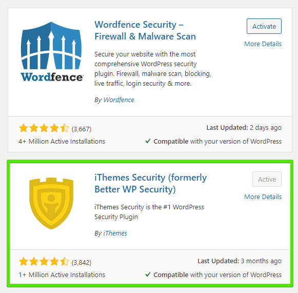Wordfence and iThemes Security