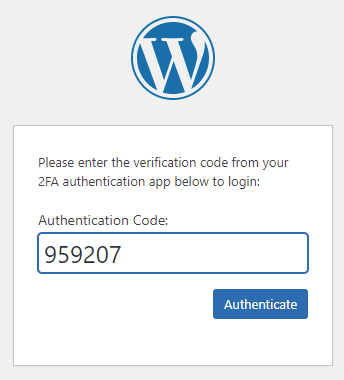 WordPress Authentication (Authentication Code)