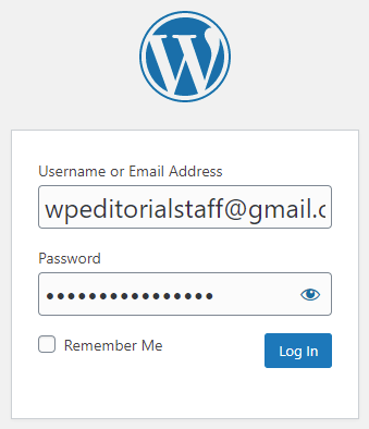 WordPress Login (Username and Password)