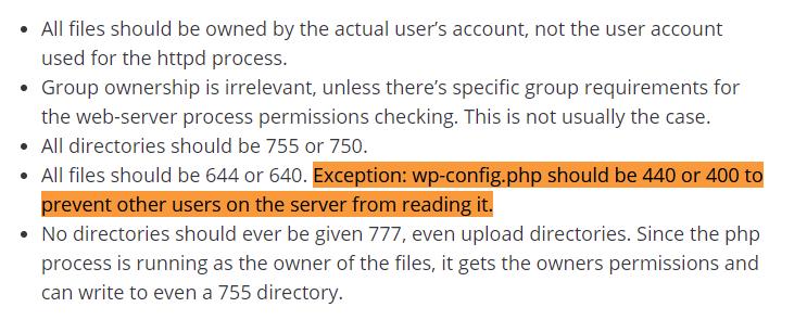 "WordPress.org: File Permission Suggestion ""400"" / ""440"""
