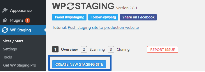 WP STAGING Create New Staging Site