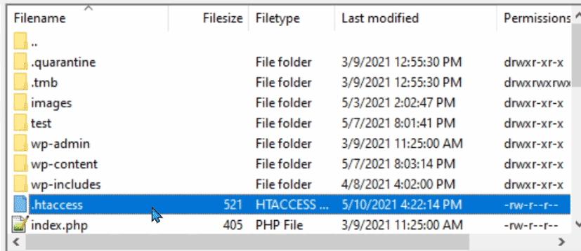 The .htaccess file in Filezilla