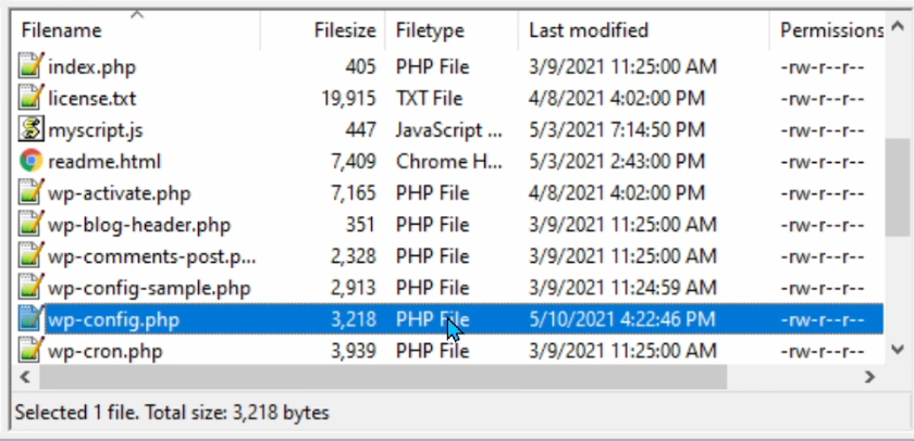 The wp-config.php file in Filezilla