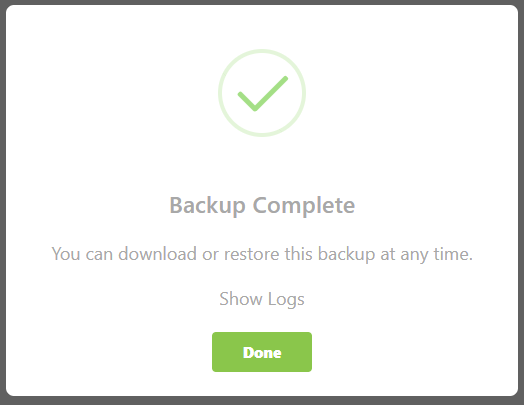 The Backup is Completed