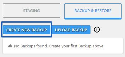 Create New Backup Button