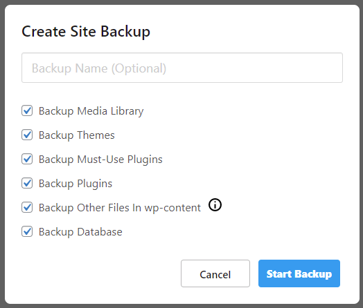 Set up a name for the backup