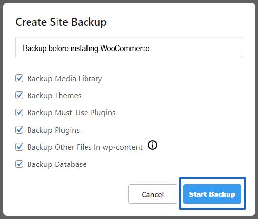 Start the Backup Process